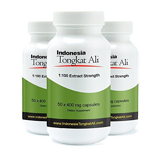 30% Off 3 Bottles of Real Herbs Indonesian Tongkat Ali 100 to 1 Extract - Natural Testosterone Booster - Also Known As Longjack or Eurycoma Longifolia - 400mg x 150 Vegetarian Capsules of Root Powder by Real Herbs