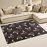 "SAVSV Area Rug Carpet Floor Mat 5' x 3'3""(60""x39"") Lightweight Printed Decorative Contemporary French Bulldog Smile Sunglasses Doodle Fade Resistant For Living Room Bedroom"