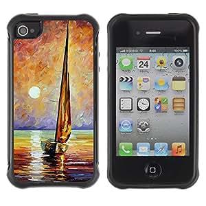 Suave Caso Carcasa de Caucho Funda para Apple Iphone 4 / 4S Ship Sea Sun Summer Captain / JUSTGO PHONE PROTECTOR