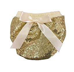 Coralup Baby Girls Bling Sequin Tie Bow Bloomers Diaper Covers(Gold,0-6M)