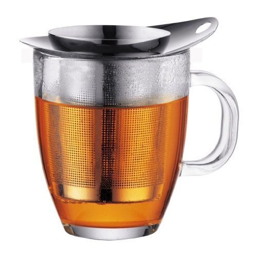 Bodum K11239-16 New Yo-Yo Set Glass and Tea Strainer, 12 oz, Chrome Assam 4 Cup Tea Press