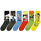 Zmart Men's Famous Painting Casual Cotton Sport Crew Socks 6-Pack, Men's US 7-11,6-pack,One Size
