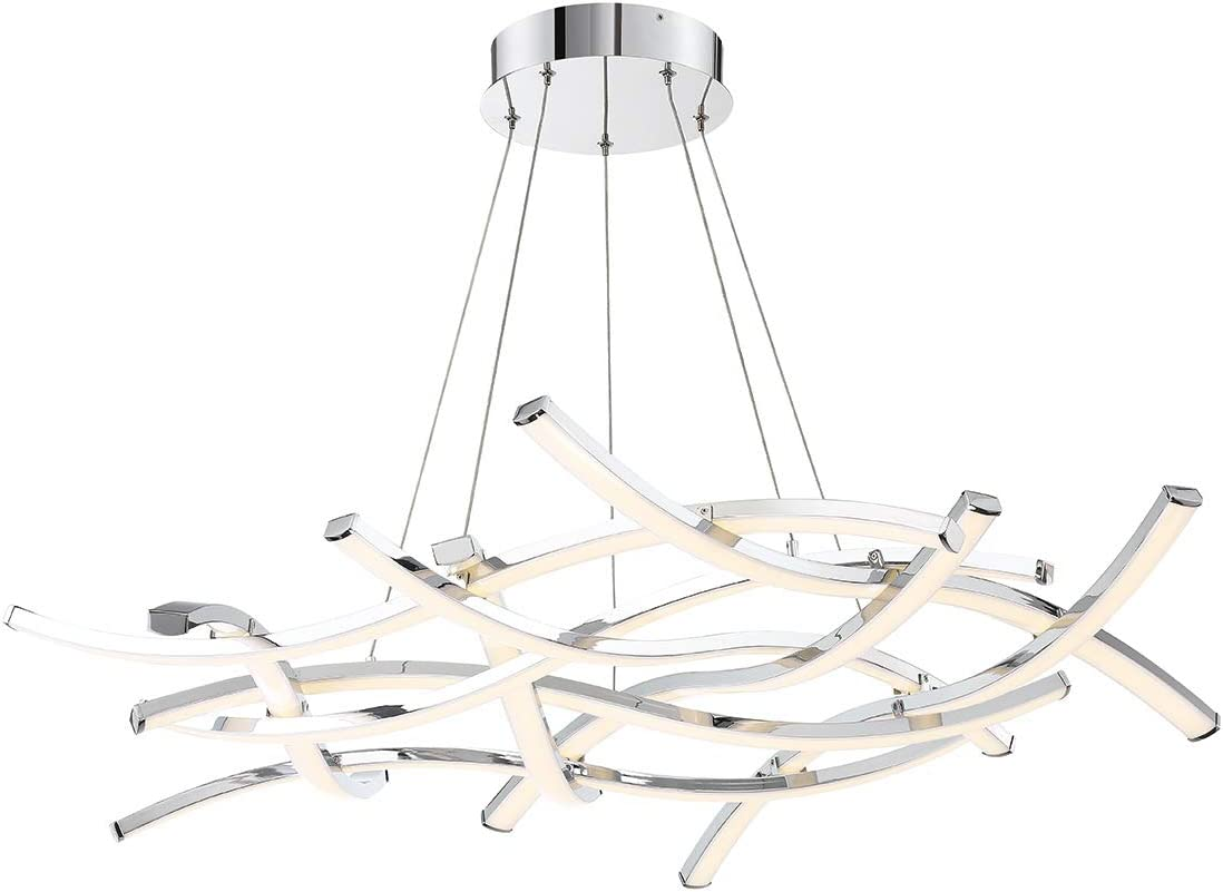 WAC Lighting PD-60944-CH DweLED Divergence 44in LED Chandelier in Chrome Light Fixture, 44 Inches
