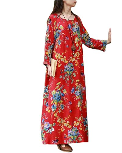 Fit Maxi Robe Coton Floral Rond Femmes Loose Ethnique Print Plage Rouge Lin Col 6TxCqwp