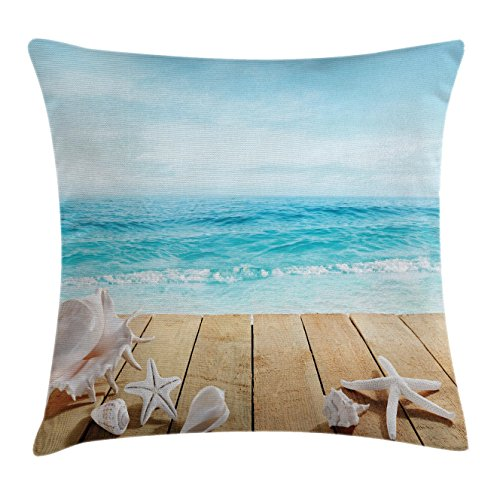 Accents Blue Seashells (Ocean Throw Pillow Cushion Cover by Ambesonne, Wooden Boardwald Seashells Resort Sunshine Maldives Deck Waves Beach Theme, Decorative Square Accent Pillow Case, 18 X18 Inches, Sky Blue and Beige)