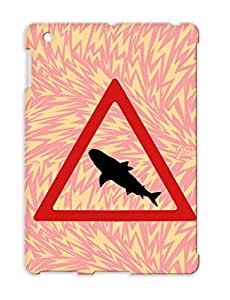 TPU Skid-proof Caution Shark Danger Symbols Shapes Miscellaneous Fish Carfull Protective Hard Case For Ipad 3 Red