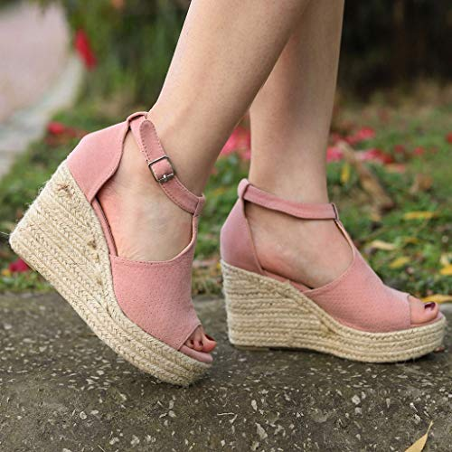 CCOOfhhc Women's Wedge Sandals Casual Sandals Shoes Summer Adjustable Ankle Buckle Open Toe Wedges Heels Pink by CCOOfhhc (Image #7)
