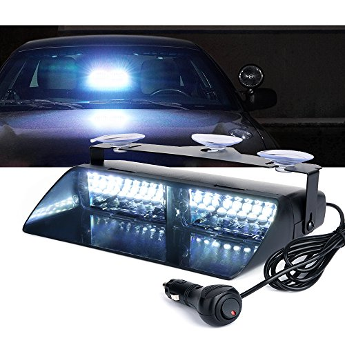 Xprite White 16 LEDs High Intensity LED Law Enforcement Emergency Hazard Warning Strobe Lights For Interior Roof/Dash/Windshield With Suction Cups -