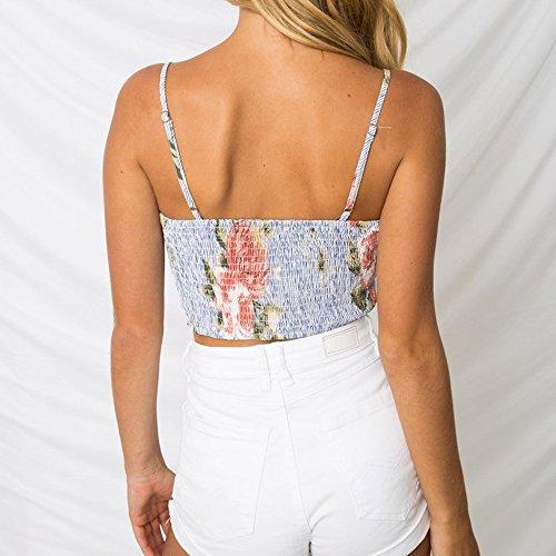 Tops Maglietta Vest Gilet T Bowknot Vestiti Donna Estive Maniche Stampa Blu Spiaggia Eleganti Bandage Miebax shirt Crop Senza Canotta Tank Tq1xYf6xa