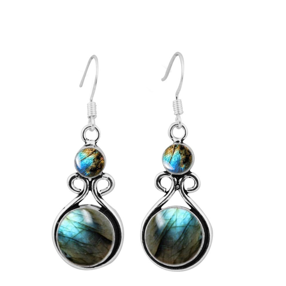 15.00ctw, Genuine Labradorite & 925 Silver Plated Dangle Earrings Made By Sterling Silver Jewelry