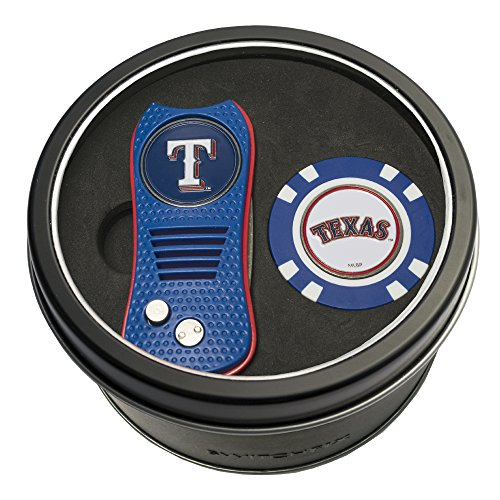 Team Golf MLB Texas Rangers Gift Set Switchblade Divot Tool & Chip, Includes 2 Double-Sided Enamel Ball Markers, Patented Design, Less Damage to Greens, Switchblade Mechanism ()