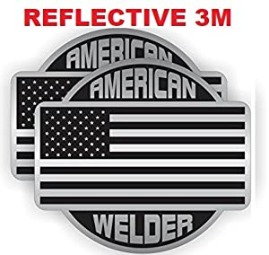 TWO (2) BEST SELLER American WELDER | REFLECTIVE 3M | Hard Hat Stickers USA Union | Welding Helmet Decals | Funny Labels Badges Toolbox Laborer Construction Trucker Cowboy
