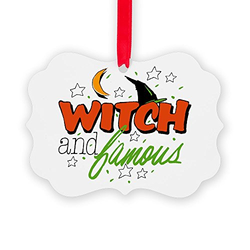 Picture Ornament Halloween Witch and Famous Hat]()