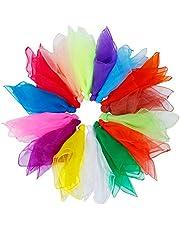 Rovtop 15 stuks jongleerdoekjes, chiffondoeken voor dansen, jongleren, sensorische dansdoeken, 60 x 60 cm kleurrijke doeken