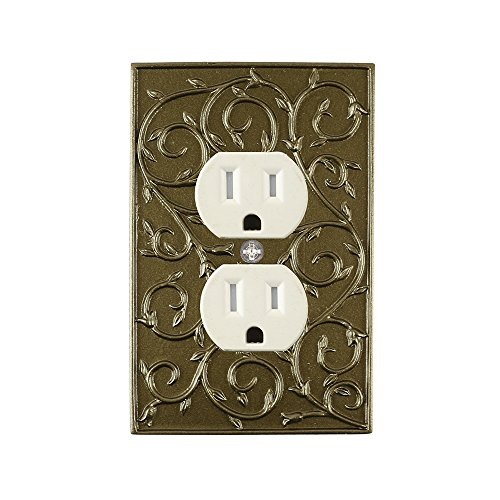 Meriville French Scroll Electrical Outlet Wall Plate Cover, Hand Painted Single Duplex receptacle outlet cover, Aged Gold