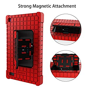 Amazon Fire 7 Shockproof Kids Tablet Stand Case, Silicone Protective Cover with Lightweight Square Pattern Kids for Amazon Kindle Fire 7 (7th Generation 2017 Release), Red
