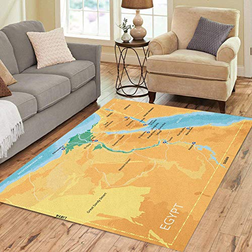 Alexandria Brown Area Rugs - Pinbeam Area Rug Color Map of Egypt Capital Cairo Important Cities Home Decor Floor Rug 5' x 7' Carpet