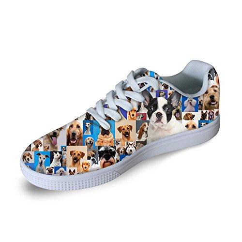 FOR U DESIGNS Fashion 3D Animals Print Men Skateboard Shoes Women Casual Sneaker Dog-6 xV6xj3