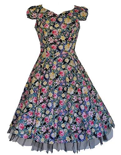 Ladies 's Style années 1940 's Style Vintage jaune et ros'à motif floral en Coton Robe à Thé Swing