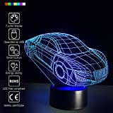 Creative 3D Glow 7 Colors Optical Illusion LED Night Lights with Unique Lighting Effect Special Visualization Home Decor (Car) For Sale
