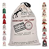 "LITTLEGRASS Christmas Decorations Santa Sack Personalized for Kids Canvas Burlap Blank Christmas Gifts Bag Drawstring Special Delivery Extra Large Size 27.5""x19.5"""