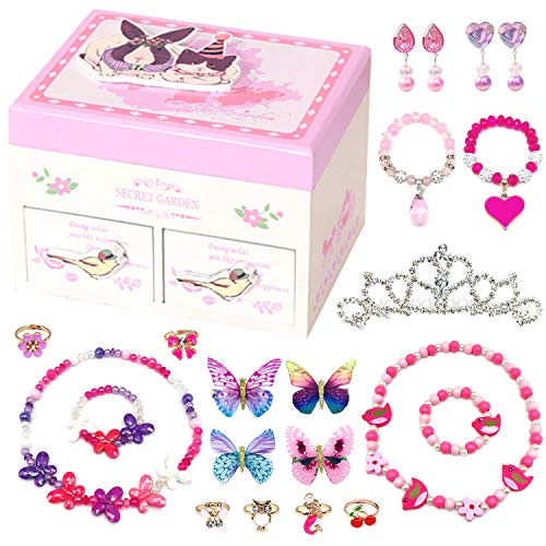 - Elesa Miracle Little Girl Kids Wood Jewelry Box and Girl Princess Jewelry Dress Up Accessories Toy Playset Set
