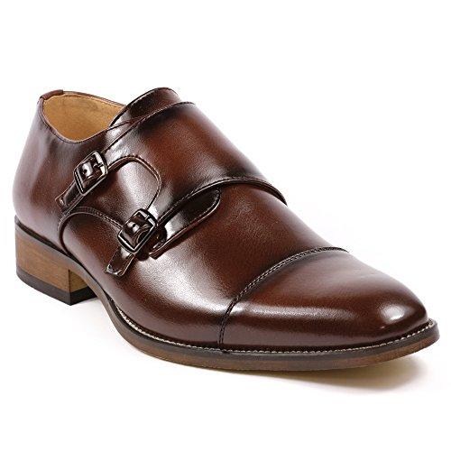 UVS10 Men's Dark Brown Double Monk Strap Cap Toe Slip On Loafers Dress Shoes (10.5)