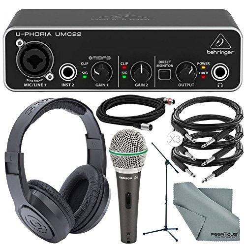 Photo Savings Behringer U-PHORIA UMC22 2in2out USB Audio Interface and Accessory Bundle w/Samson Mic & Stand + Headphones + 3X 1/4