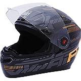Steelbird Air Full Face Helmet with Plain Visor (Black and Orange, S)