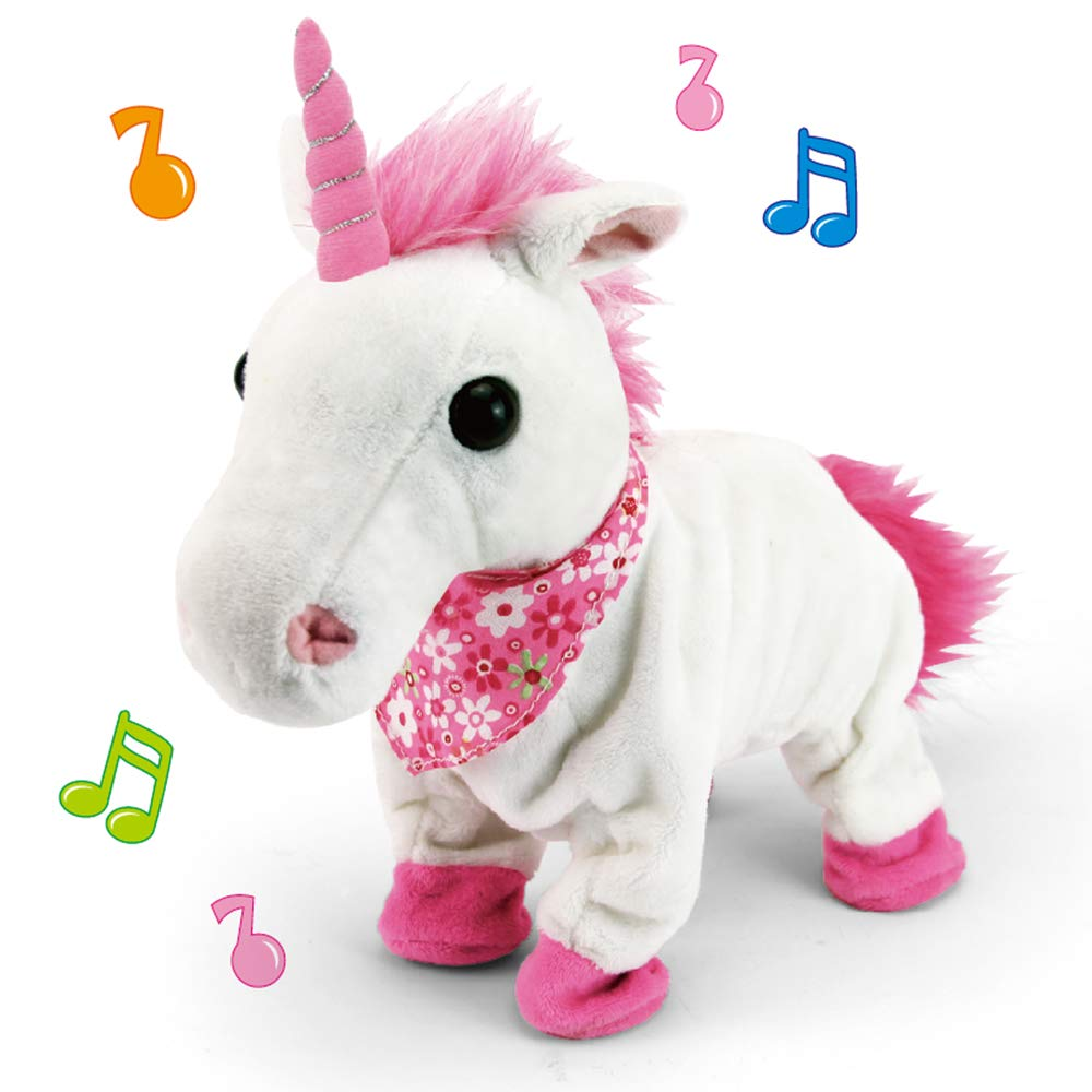 Liberty Imports Interactive Animated Walking Pet Electronic Unicorn Plush Sound Control Toy Animal Gallops Neighs Unicorn