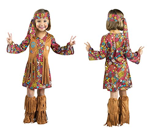 Faerynicethings Toddler Size Peace & Love Hippie Costume - Large 3T-4T ()