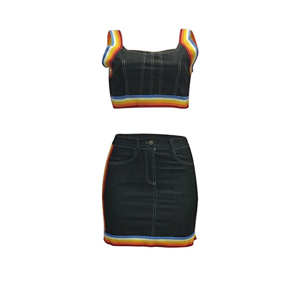 30494fd19c4a Rainbow 2 Piece Outfits for Women Clubwear Summer Bodycon Denim Crop Top  Pencil Mini Skirt Set at Amazon Women's Clothing store: