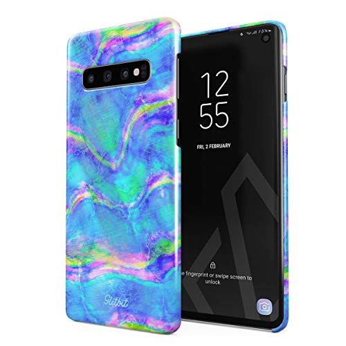 Abalone Iris (Glitbit Compatible with Samsung Galaxy S10 Case Mermaid Paua Abalone Sea Shell Haliotis Iris Holographic Mother of Pearl Cotton Candy Thin Design Durable Hard Shell Plastic Protective Case Cover)