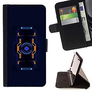 For Samsung Galaxy S5 V SM-G900 Case , Azul Negro Naranja de ciencia ficción Future Tech- la tarjeta de Crédito Slots PU Funda de cuero Monedero caso cubierta de piel