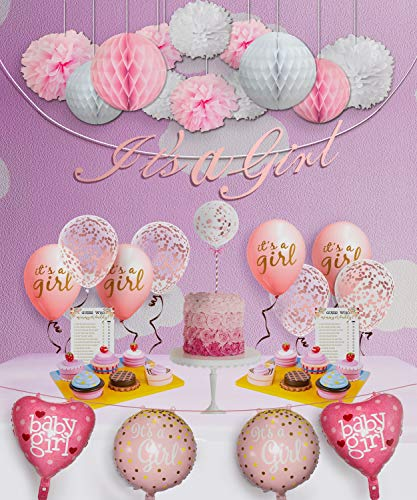Baby Shower Decorations for Girl and Games - 47 Pcs Baby Shower Party Supplies for Girl