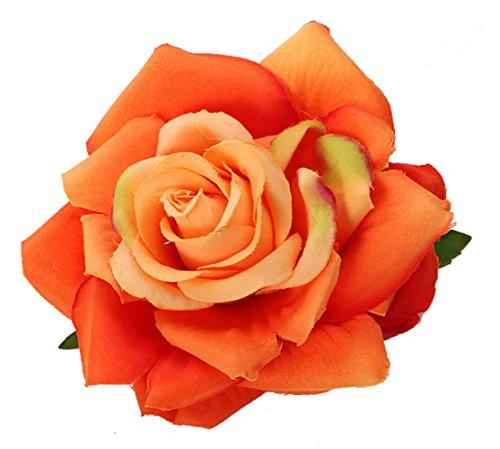 Love Sweety Women Party Big Rose Flower Hairpin Hair Clips Flower Brooch (Orange)