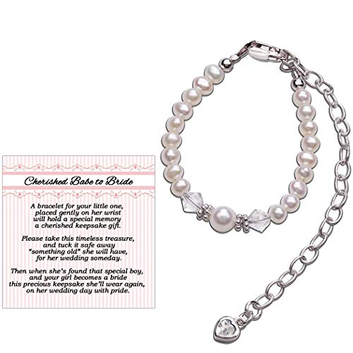 Cherished Babe to Bride Keepsake Bracelet in Sterling Silver and Cultured Pearls for Baby Girl ()