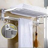 Foldable Towel Shelf,Sorliva Wall Mounted Towel Holder Rack Hook Hanger Bar Shelf Rail Storage Bathroom Hotel