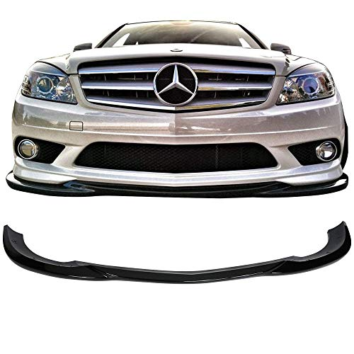 (Front Bumper Lip Fits 2008-2011 Mercedes Benz W204 C-Class | GH Style Black ABS Air Dam Chin Diffuser Spoiler Body Kit by IKON)