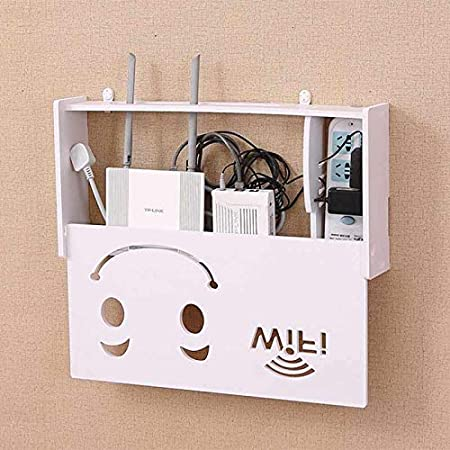 Sonriente Cikuso Caja de Almacenamiento de Router Inal/ámbrico WiFi Estanter/ía de Madera Y Pl/ástico Soporte para Colgar En La Pared Almacenamiento de Cable Decoraci/ón del Hogar