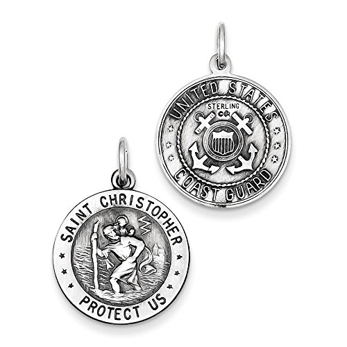(Sterling Silver Antiqued Reversible St.Christopher US Coast Guard Medal Charm Pendant Length 25mm)