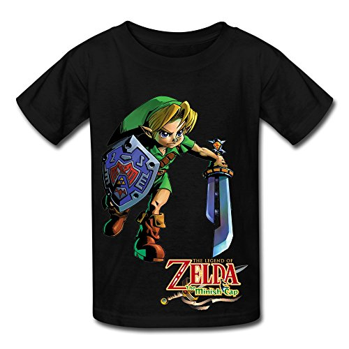 Soulya Youth's The Legend Of Zelda Element Kids Boys And Girls Short Sleeves Cotton T Shirt Size XL Black