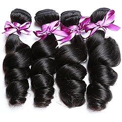 Perstar Loose Wave Hair Virgin Remy Human Hair Weave 4 Bundles Unprocessed 8A Brazilian Virgin Hair Natural Color (18 20 22 24, Natural Color)