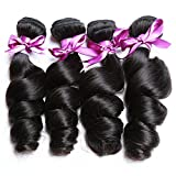 Perstar Hair 8A Grade Brazilian Loose Wave hair Virgin Remy Human Hair Weave 4 Bundles Uprocessed Virgin Hair Natural Color (22 24 26 28, Natural Color)