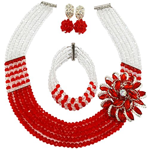 Red Transparent Necklace (laanc Womens Girls Necklace Bracelet 5 Rows Gold AB and Colorful Crystal Beads African Jewelry Sets (Transparent Red))