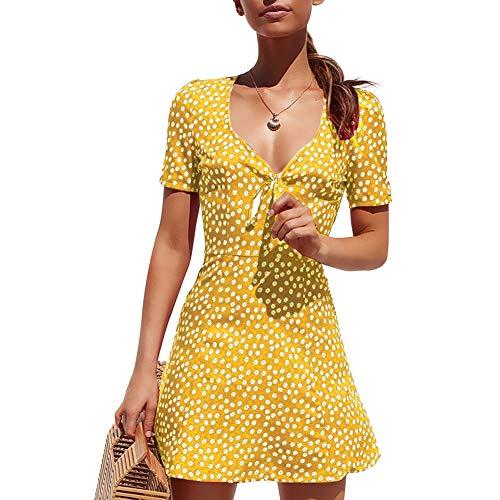 Women Midi Dresses Short Slevee Wave Point Skirt V Neck Knee Length(2XL- Yellow)
