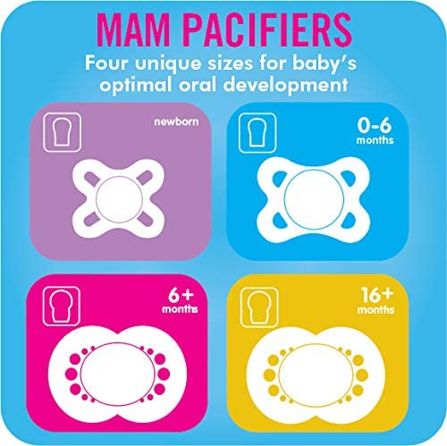 Baby Pacifier 0-6 Months Girl MAM Pacifiers Jaime Maman Design Collection Best Pacifier for Breastfed Babies 2-Count