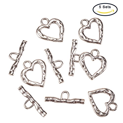 Pandahall 5 Sets Antique Silver Heart Tibetan Style Toggle and Tbars, jewelry Making Toogle Clasps