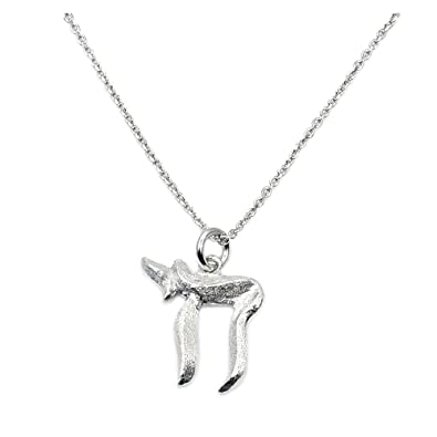 Solid Sterling Silver Chai Life Symbol Pendant Necklace Amazon