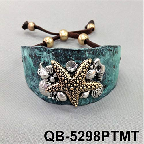 Hammered Style Patina Finish Silver Ocean Sea Star Design Pull Tie Cuff Bracelet LL-982